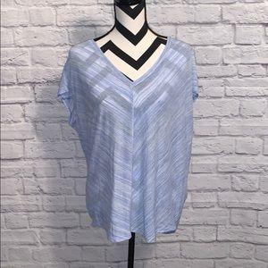 White House Black Market Blue V Neck T Shirt